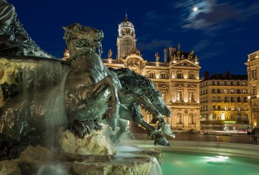 Renovated Fontain Bartholdi and Hotel de Ville de Lyon at Place des Terreaux.