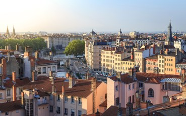 Spring sunrise over Vieux Lyon and Croix Rousse.