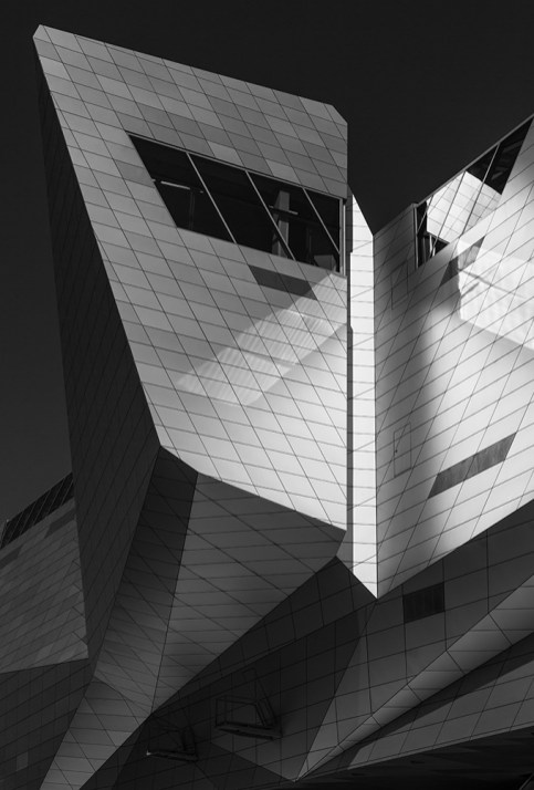 Detail of the modern architecture of Musee des Confluences in Lyon, France.