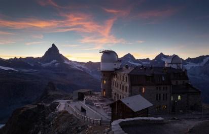 Planetarium at the Gornergrat and the Matterhorn during a nice sunet in Switzerland.