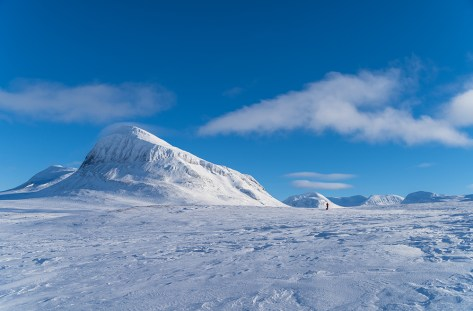 Silhouette of a lone cross country skier in national park Sarek.