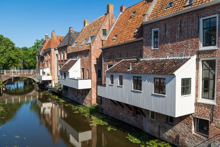The famous 'hanging kitchens' over the Damsterdiep in the old town of Appingedam.