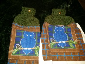 Crochet owl kitchen towels