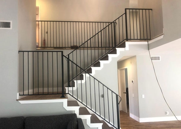 Ba Ramirez Iron Works Gallery Wrought Iron Stair Hand Guard   Iron Pipe Stair Railing   90 Degree Stair   Simple Pipe   Box Pipe   Reclaimed Wood Stair   Thin Metal