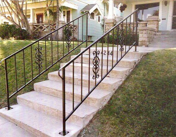 Iron Entry Doors Fences Gates Stair Railings San Diego Ca | Custom Iron Stair Railing | Indoor | Steel | Metal | Curved | Ornamental