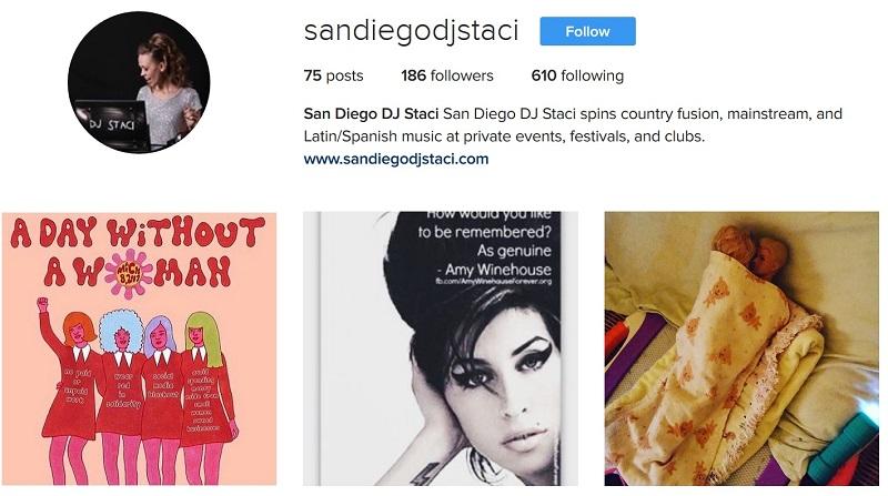 Instagram San Diego DJ Staci 3 8 17
