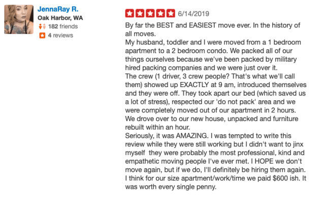 five star review by san diego moving customer June 2019