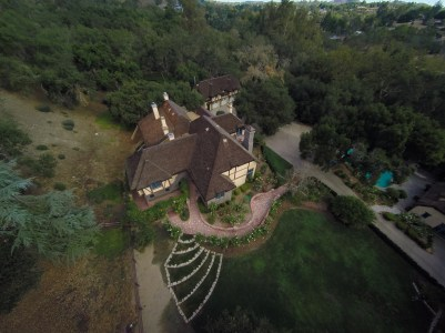 A bird's perspective of the main house