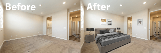Small Bedroom Virtual Staging - Before and AfterFarm House Living Room Virtual Staging