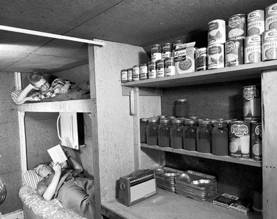 A backyard bomb shelter.