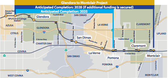 This map shows the second and third phases of the Gold Line extension.