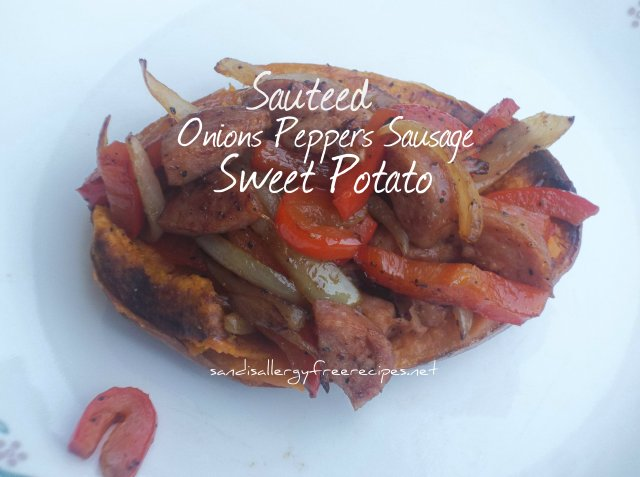 Sauteed Onion Pepper Sausage Sweet Potato-Paleo