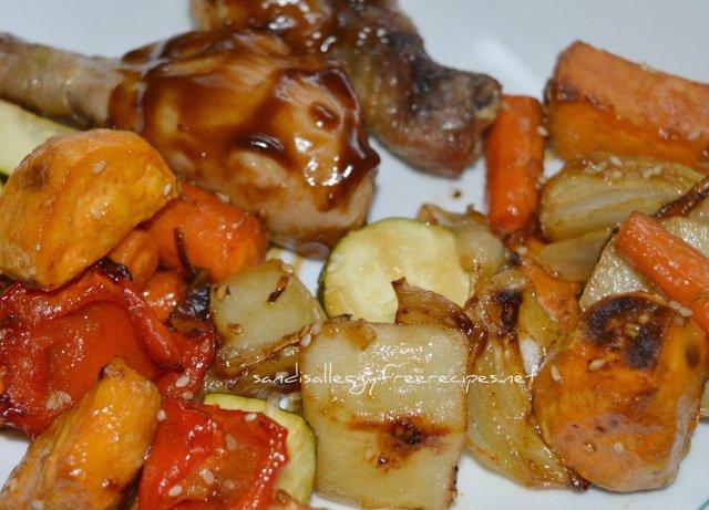 Ginger Sesame Roasted Veggies