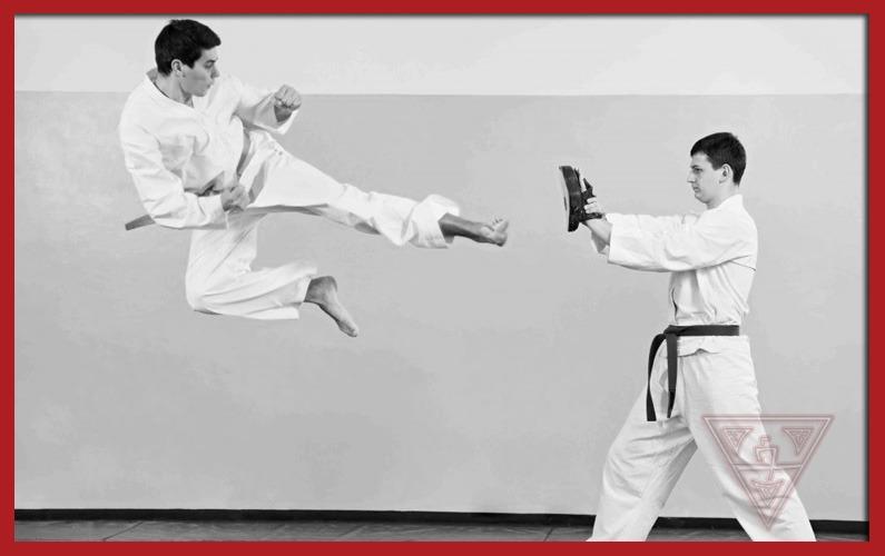 Karate Practitioner Doing Flying Kick