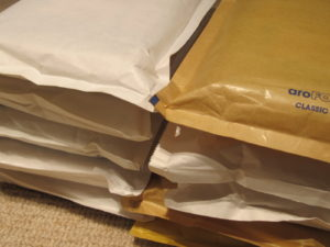 ready for posting - pile of envelopes stuffed 18-2-15