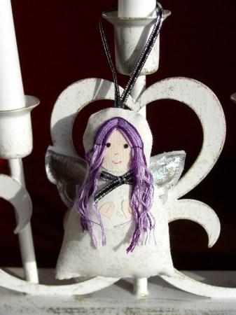 Purple Hair Angel decoration