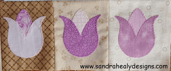 Sandra Healy Designs Calendar Quilt April Block Tulips