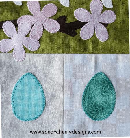 Sandra Healy Designs Calendar Quilt Birds eggs and blossom