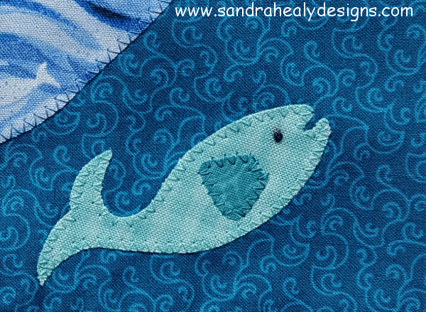 Sandra Healy Designs Calendar Quilt July Block Fish Detail