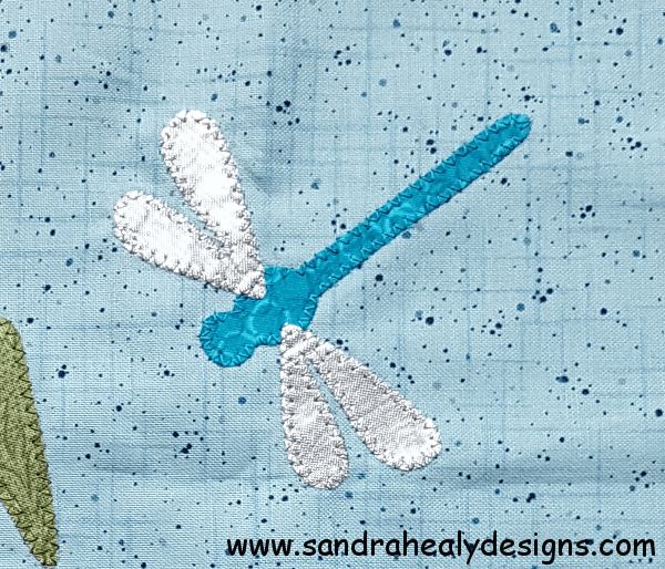 Sandra Healy Designs Calendar Quilt August Block Dragonfly
