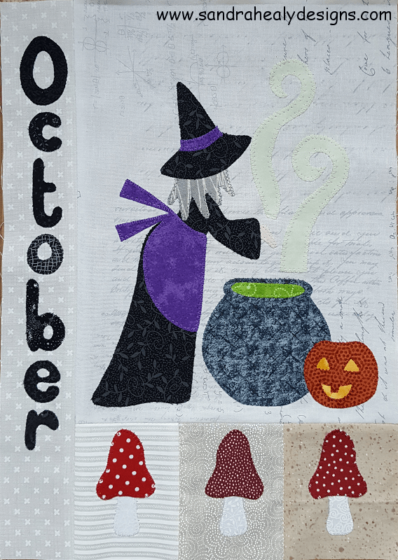 Sandra Healy Designs Calendar Quilt October block