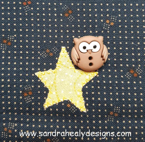 Sandra Healy Designs Calendar Quilt November Block Owl Button