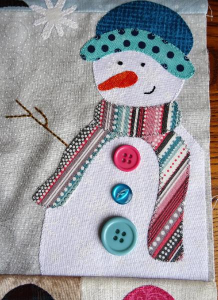 Sandra Healy Designs Calendar Quilt January Block Snowman