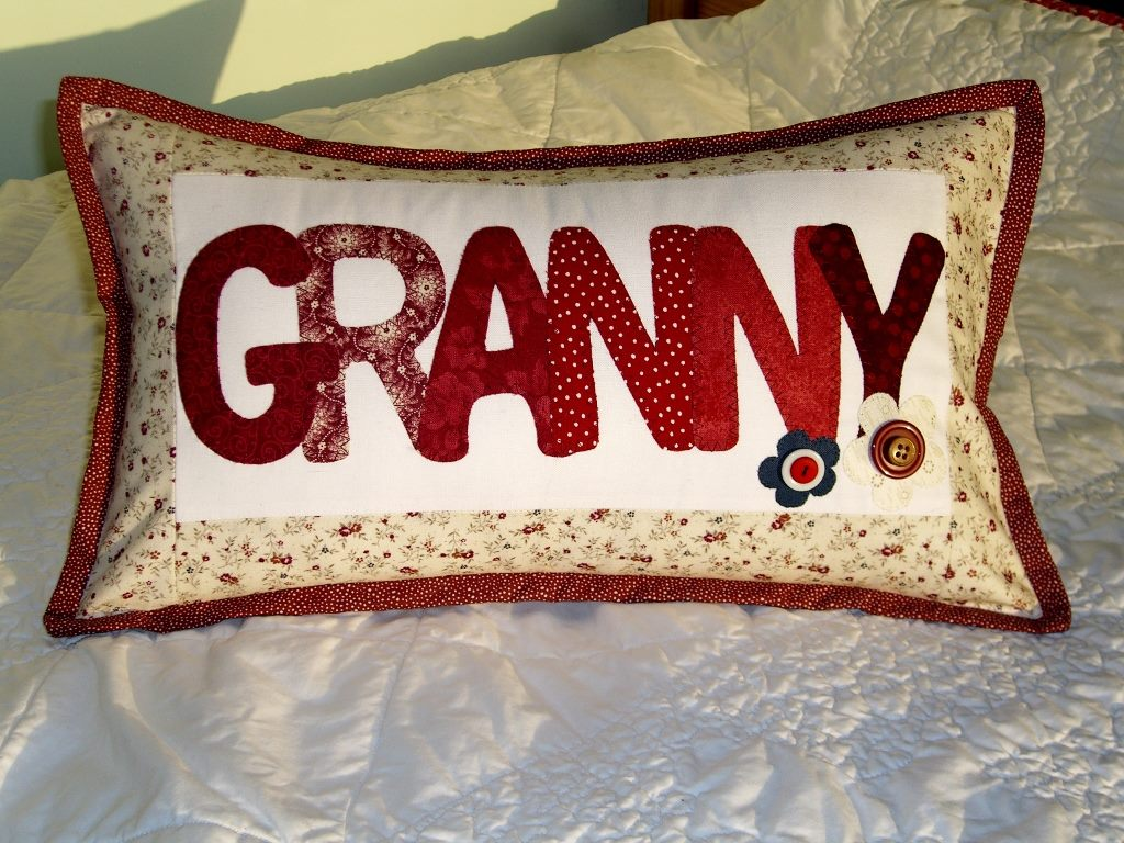 Sandra Healy Designs personalised patchwork pillow pattern Granny