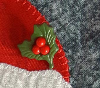 Sandra Healy Designs Calendar Quilt December Block Holly button