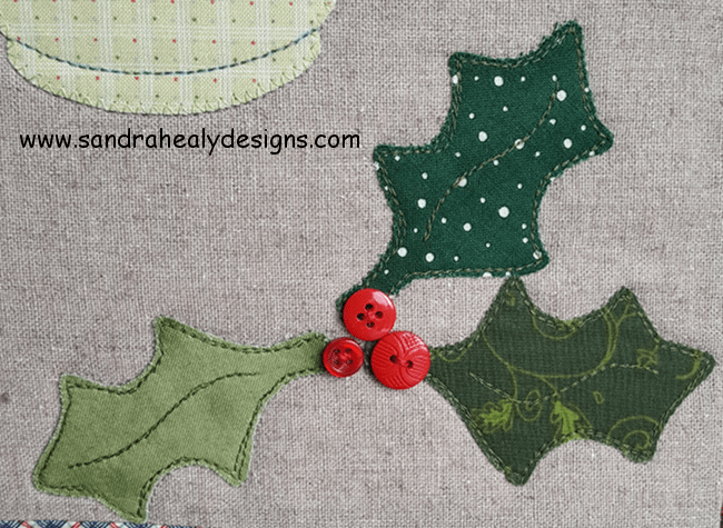 Sandra Healy Designs pillow pattern warm wishes holly applique