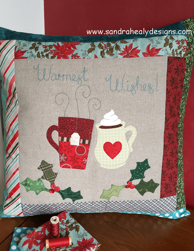 Sandra Healy Designs Christmas pillow pattern warm wishes