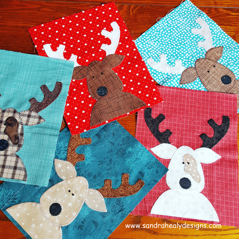 Sandra Healy Designs The Reindeer Crew Christmas quilt pattern quilt blocks