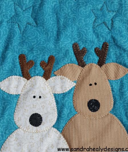 Sandra Healy Designs The Reindeer Crew Christmas quilt pattern baby reindeer