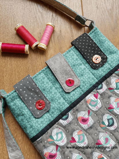Sandra Healy Designs Bird Messenger Bag Button Detail