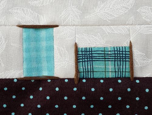 Sandra Healy Desgins, Sew Lets QAL, Sewing Machine, Block 1, Spools