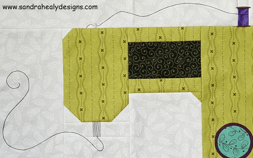 Sandra Healy Designs, Sew Lets QAL, Sewing Machine, Block 1, Stitched thread