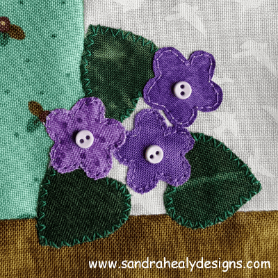 Sandra Healy Designs, Sew Let's QAL, Block 5, violets
