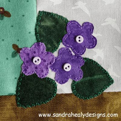 Sandra Healy Designs, Sew Let's QAL, Block 5, violets