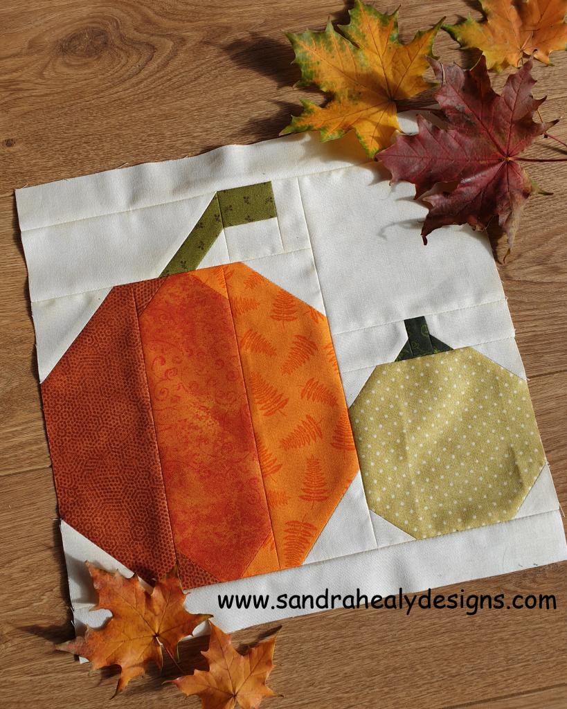 Sandra Healy Designs, pumpkin quilt block, Harvest pumpkins