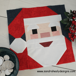 Sandra Healy Designs, Santa quilt block, with coins