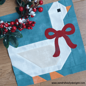 Sandra Healy Designs Christmas goose quilt block