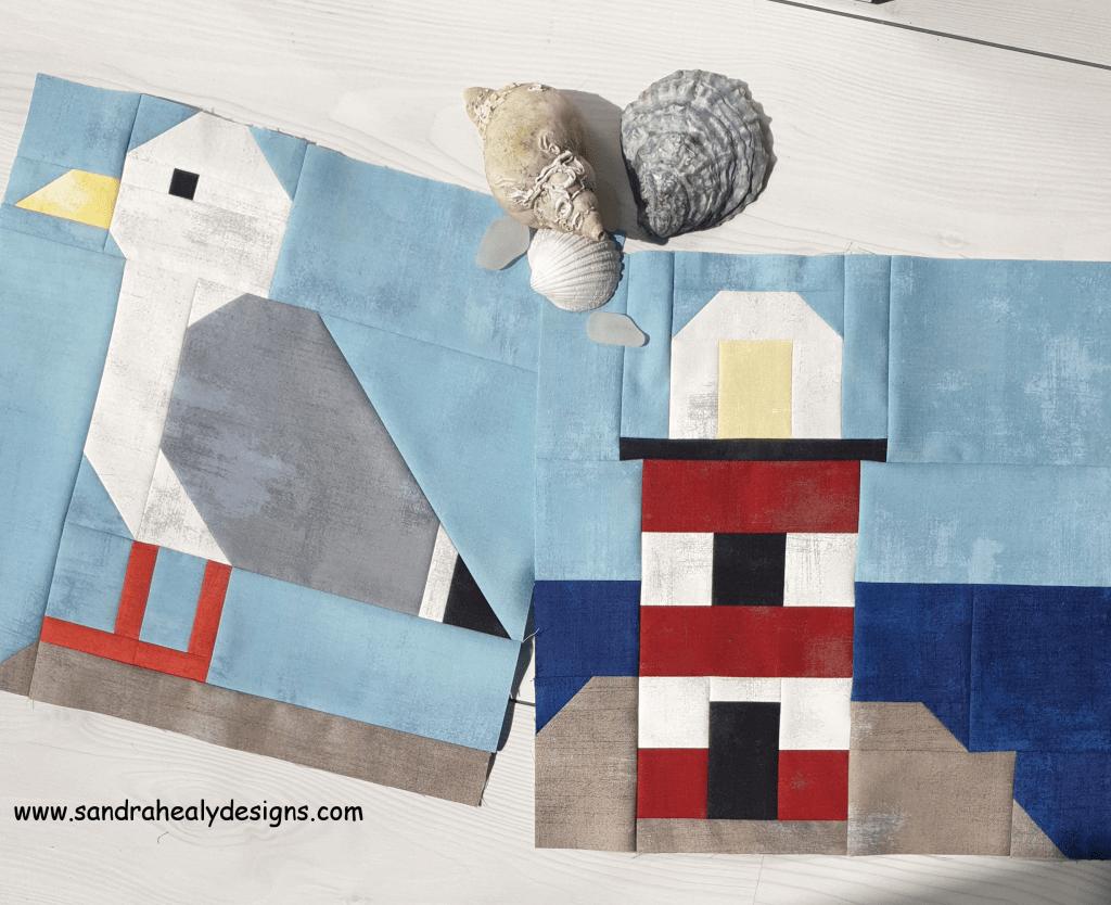 Sandra Healy Designs nautical blocks seagull and lighthouse