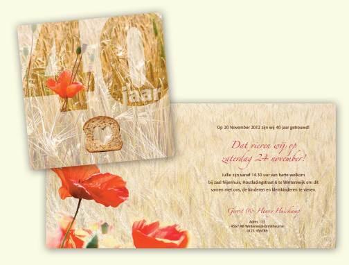 Uitnodigingskaart huwelijk bakker