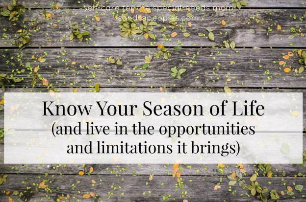 We can't do it all all the time. Knowing your season (and the opportunities and limitations in that season) will allow you to live your purpose. - sandrapeoples.com