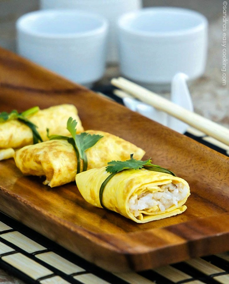 Easy and delicious Japanese Omelette Parcels , also known as Fuksa Zushi