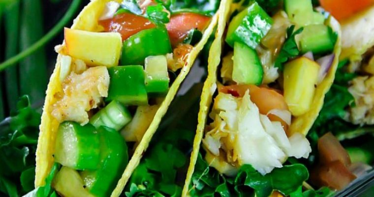 Fish Taco with Peach Salsa with a Video