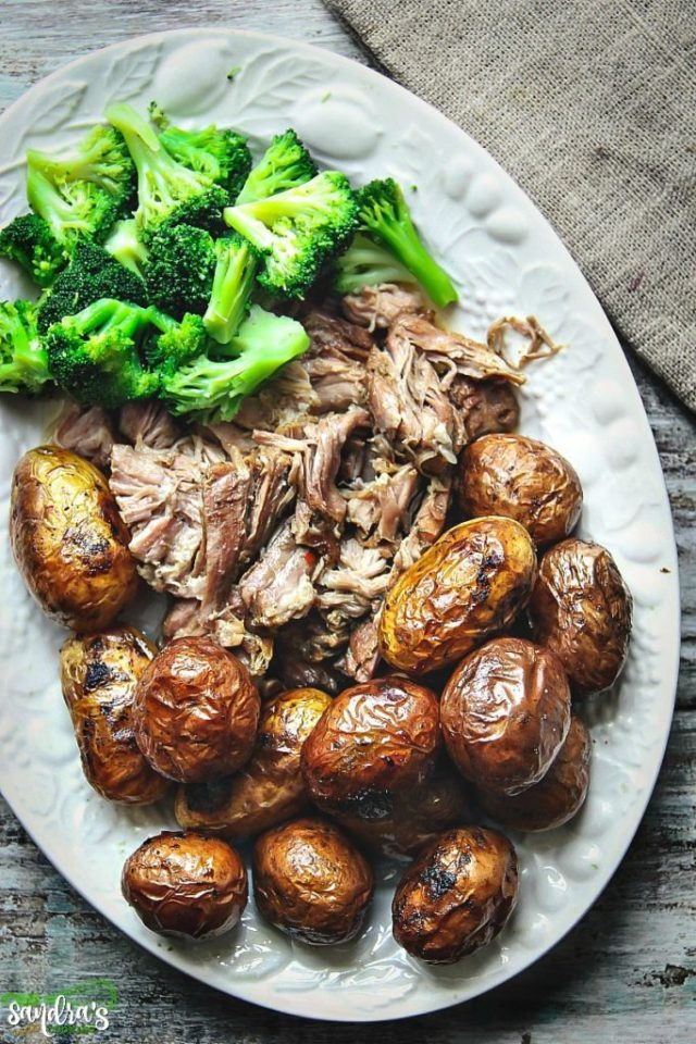 Slow Cooker Pulled Apart Pork with Potatoes and Broccoli