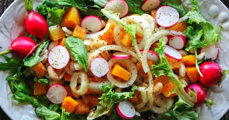 Butternut Squash, Beans and Onions Over Mixed Greens – Salad