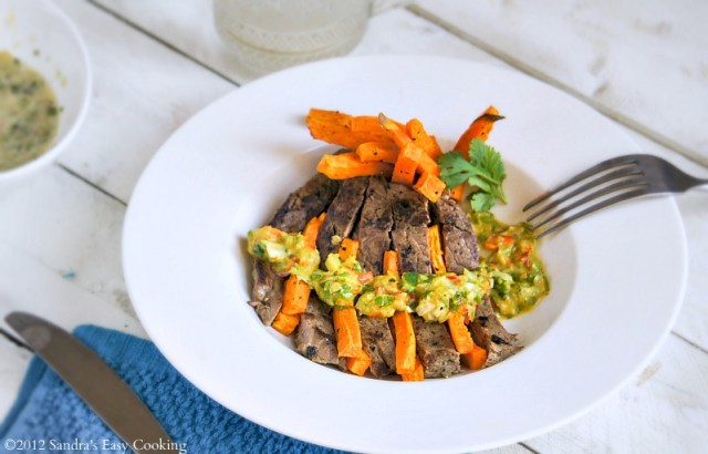 Roasted Sweet Potato Fries with Steak