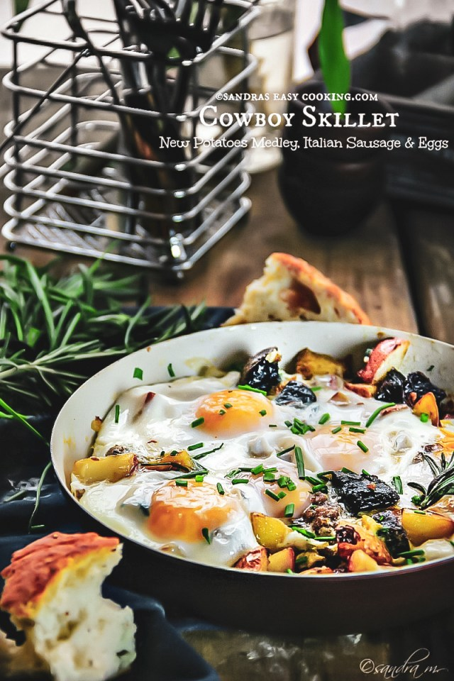 Cowboy Skillet New Potato Medley, Italian Sausage and Eggs